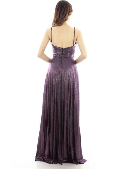 Arda New Line Kadın Mürdüm Abiye Elbise 1607870-10.21