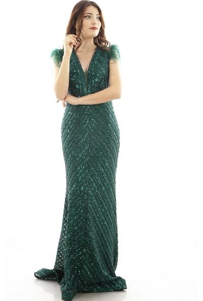 Arda New Line Kadın Zümrüt Abiye Elbise 1609606.123