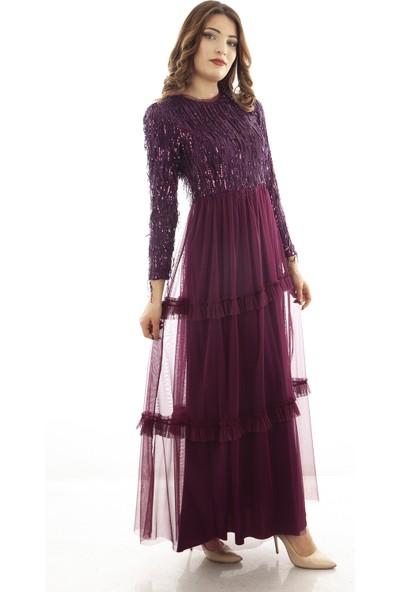 Arda New Line Kadın Mor Abiye Elbise 6502189-11.03
