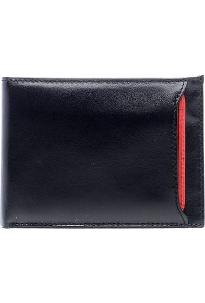 Bond 566-1-282 Siyah-Kırmızı Kartlıklı Gerçek Deri Cüzdan