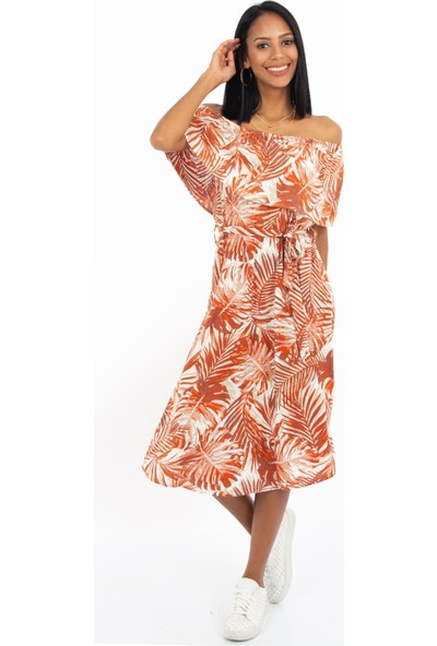 Hds Hadise Kiremit Omuz Detaylı Desenli Elbise 0208