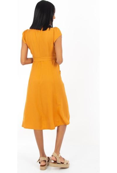 Hds Hadise Hardal Önü Nakışlı Düğmeli Cepli Elbise BE1365