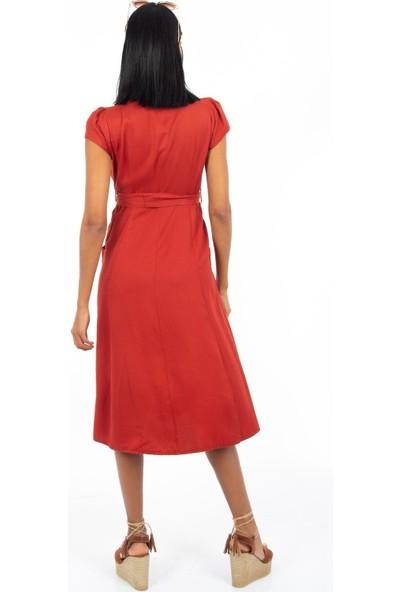 Hds Hadise Kiremit Önü Nakışlı Düğmeli Cepli Elbise BE1365