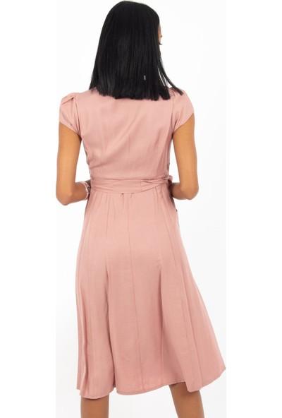 Hds Hadise Pudra Önü Nakışlı Düğmeli Cepli Elbise BE1365