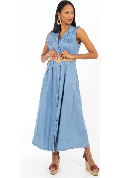 Hds Hadise Buz Mavi Sıfır Kol Hasır Kemerli Elbise 1695