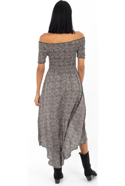 Hds Hadise Siyah Gipeli Arkası Uzun Çiçekli Elbise 0472