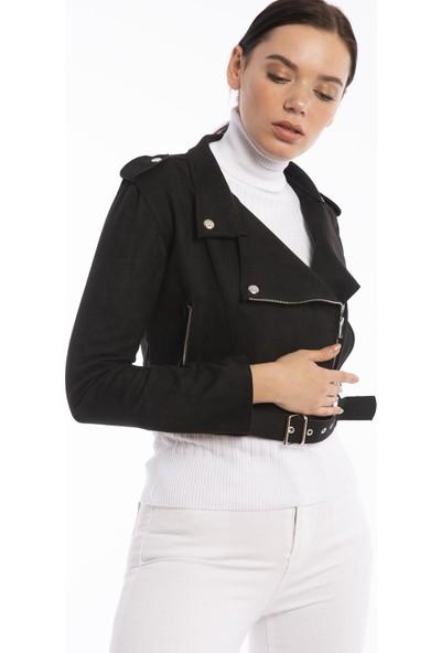 Hds Hadise Siyah Yandan Fermuarlı Süet Ceket 0550