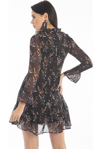 Hds Hadise Siyah Şifon Çiçekli Elbise 0590