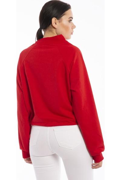 Hds Hadise Kırmızı Yarım Balıkçı Eteği Bağcıklı Sweatshirt 6511