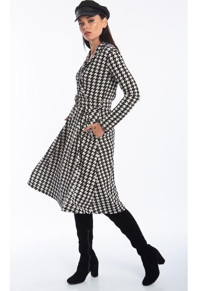 Hds Hadise Siyah Kazayagı Kuruvaze Kemerli Elbise 0586