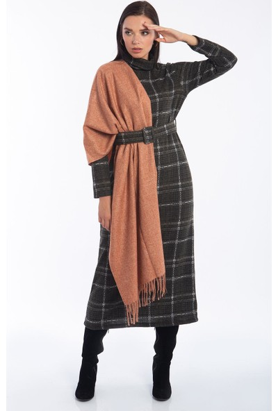 Hds Hadise Haki Yeşili Kemerli Ekoseli Elbise 1560