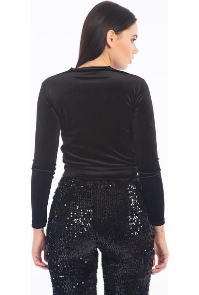 Hds Hadise Siyah Kuruvaze Kadife Bluz D5079