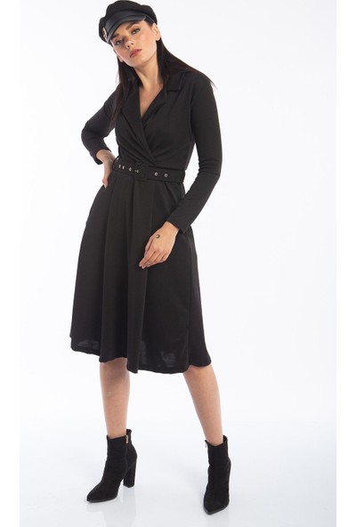 Hds Hadise Siyah Kuruvaze Kemerli Elbise 0586