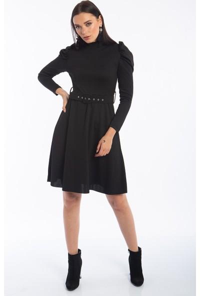 Hds Hadise Siyah Balon Kol Keloş Elbise 0605