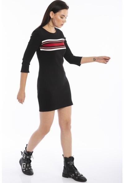 Hds Hadise Siyah Robası Şeritli Kaşkorse Elbise D5071