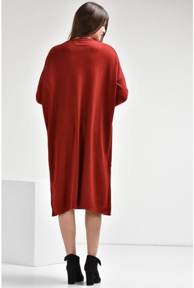 Luzzi Bordo Triko Elbise