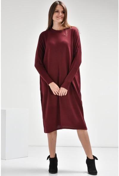Luzzi Mürdüm Triko Elbise