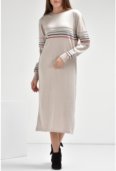 Luzzi Bej Triko Elbise