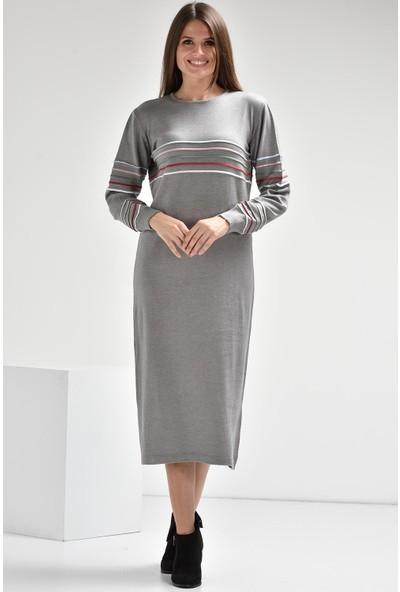 Luzzi Gri Triko Elbise