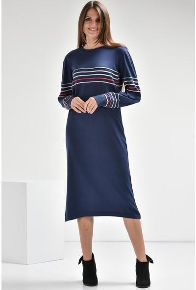 Luzzi Lacivert Triko Elbise