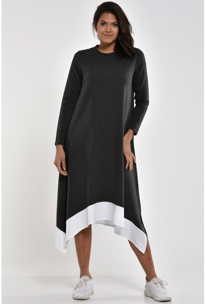 Pousse Collection Füme Garnili Yırtmaç Detaylı Elbise