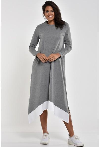 Pousse Collection Gri Garnili Yırtmaç Detaylı Elbise