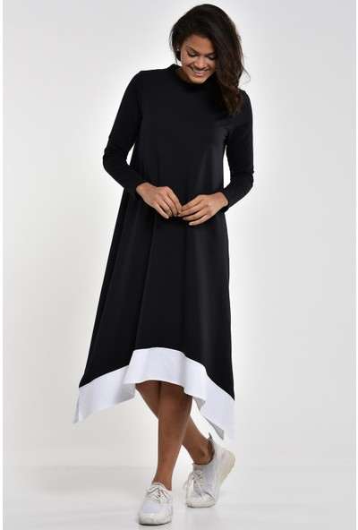 Pousse Collection Lacivert Garnili Yırtmaç Detaylı Elbise