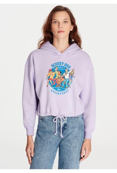Mavi Kadın Scooby Doo Baskılı Kapüşonlu Lila Sweatshirt