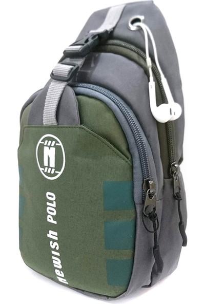 Solaksesuar Polo Çapraz Sırt ve Göğüs Çantası Bodybag Yeşil-Gri