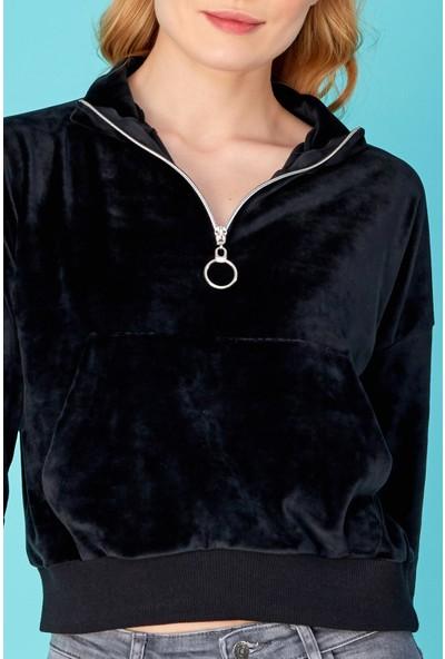 FullaModa Kanguru Kadife Sweatshirt
