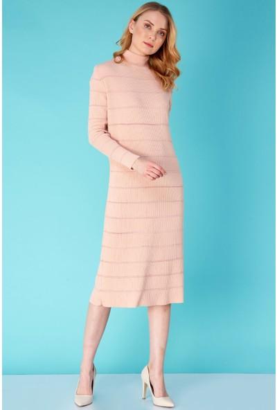 FullaModa Fitilli Sim Detaylı Triko Elbise