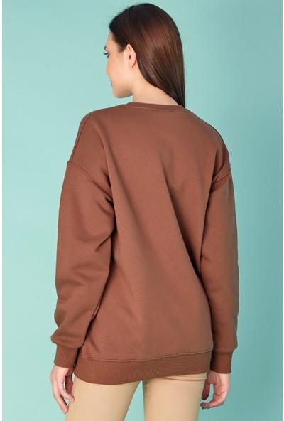 FullaModa Bisiklet Yaka Basic Sweatshirt