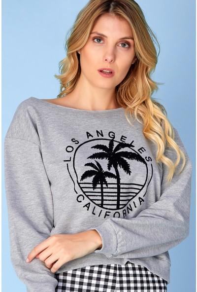 FullaModa Los Angeles Baskılı Kısa Sweatshirt