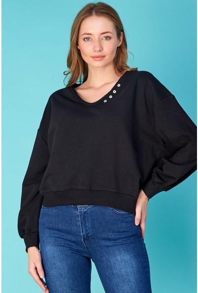 FullaModa Yakası Düğmeli Basic Sweatshirt