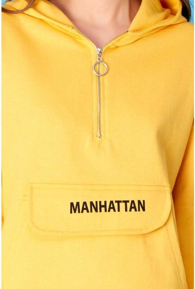 FullaModa Kanguru Cepli Yarım Fermuarlı Sweatshirt