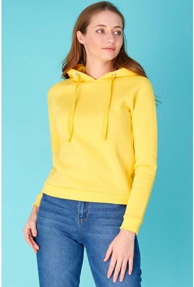FullaModa Kapüşonlu Basic Sweatshirt