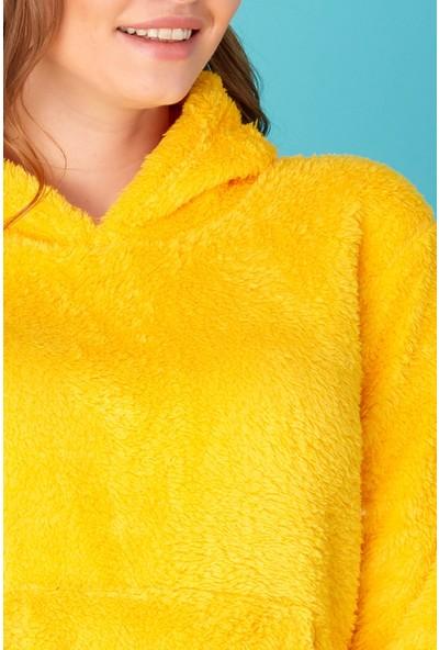 FullaModa Kanguru Cepli Kapüşonlu Pelüş Sweatshirt