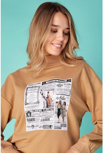 FullaModa Gazete Baskılı Sweatshirt