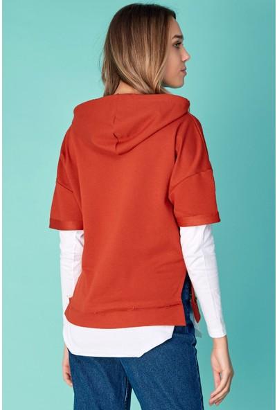 FullaModa Kapüşonlu Etek Ucu Penye Sweatshirt