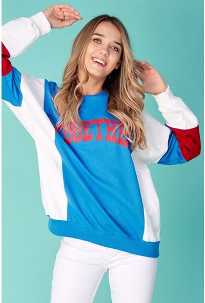 FullaModa Together Baskılı Blok Renkli Sweatshirt