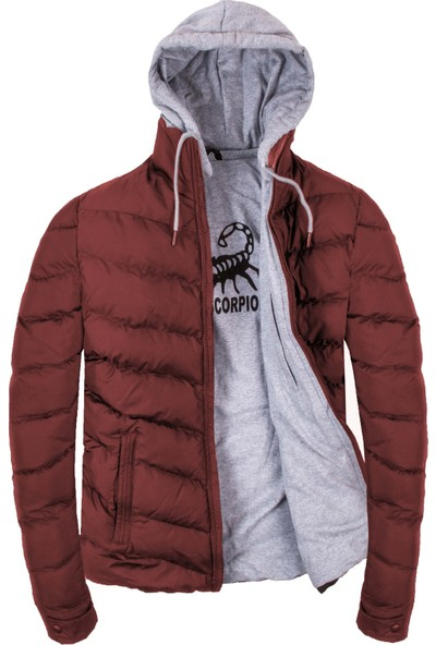 Plus Scorpion Bordo Renk Kapüşonlu Erkek Şişme Mont