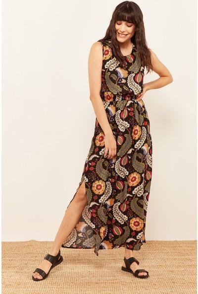 Lafaba Kadın Siyah Desenli Uzun Elbise