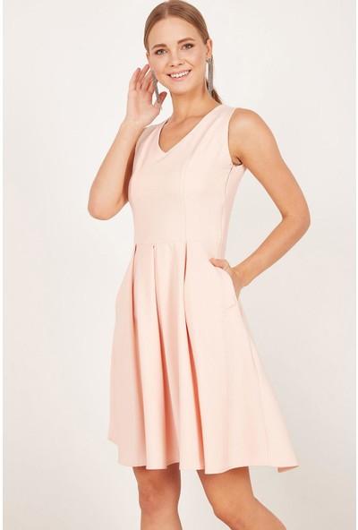 Lafaba Kadın Somon Pileli Kloş Elbise