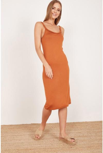 Lafaba Kadın Taba Örgü Askılı Elbise