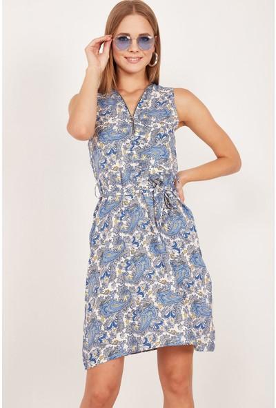 Lafaba Kadın Mavi Fermuarlı Desenli Elbise