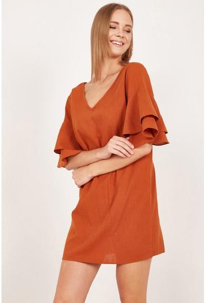 Lafaba Kadın Kiremit Kolları Volanlı Mini Keten Elbise