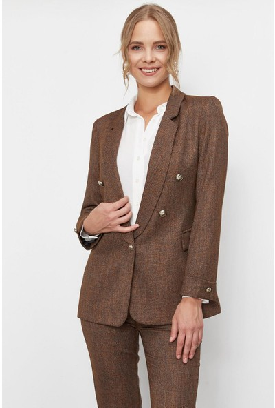 Lafaba Kadın Kahverengi Düğme Detaylı Desenli Ceket