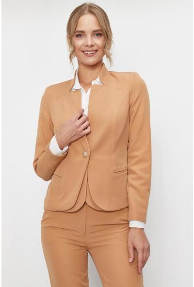 Lafaba Kadın Vizon Tek Düğmeli Ceket