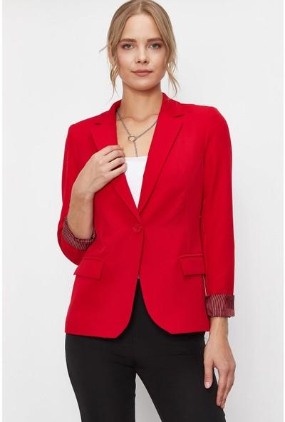Lafaba Kadın Kırmızı Çizgi Detaylı Ceket