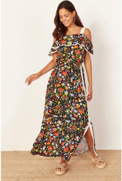 Lafaba Kadın Lacivert Kalın Askılı Desenli Uzun Elbise